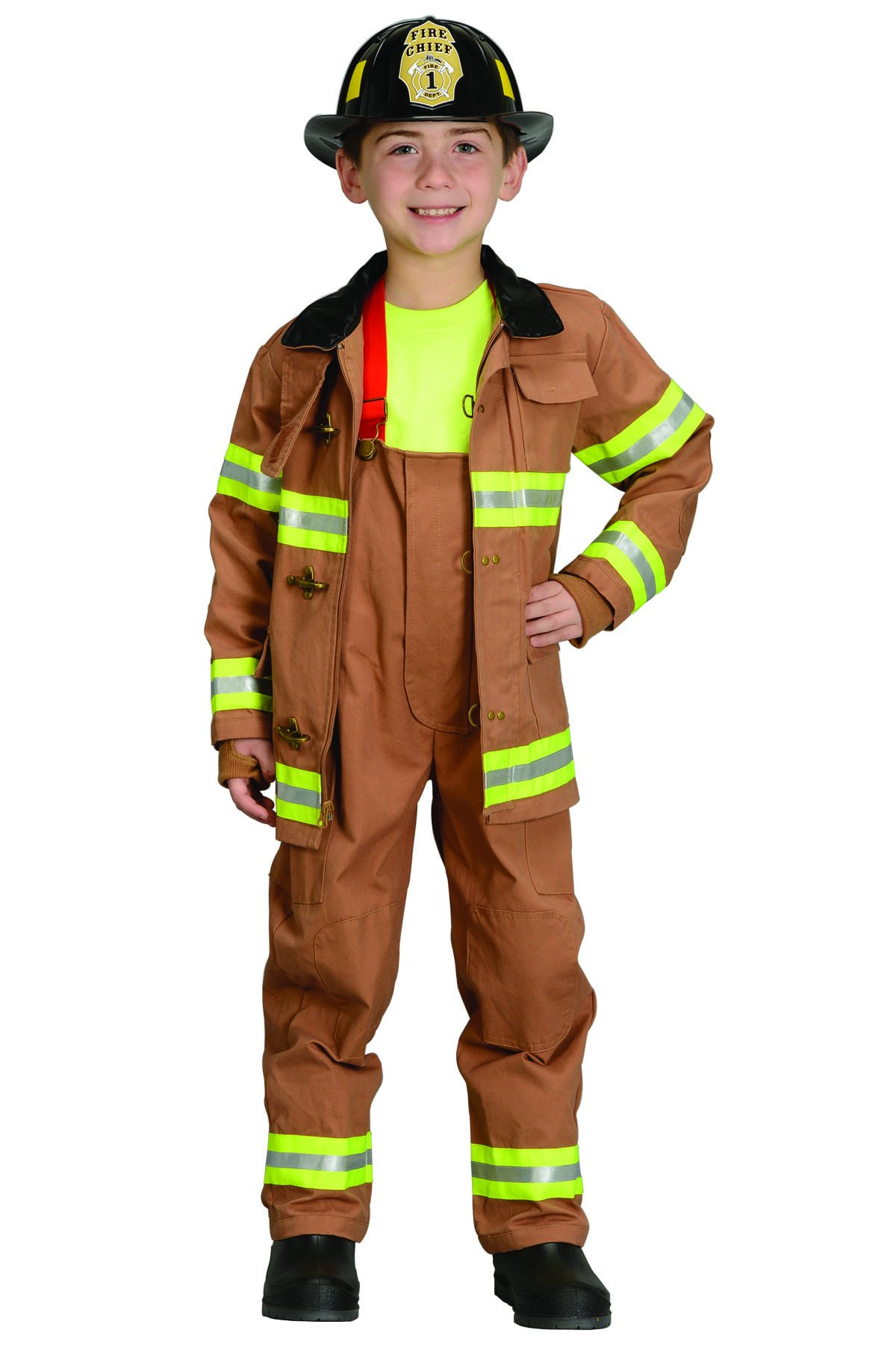 Jr. Fire Fighter Suit with helmet, size 6/8 (tan)