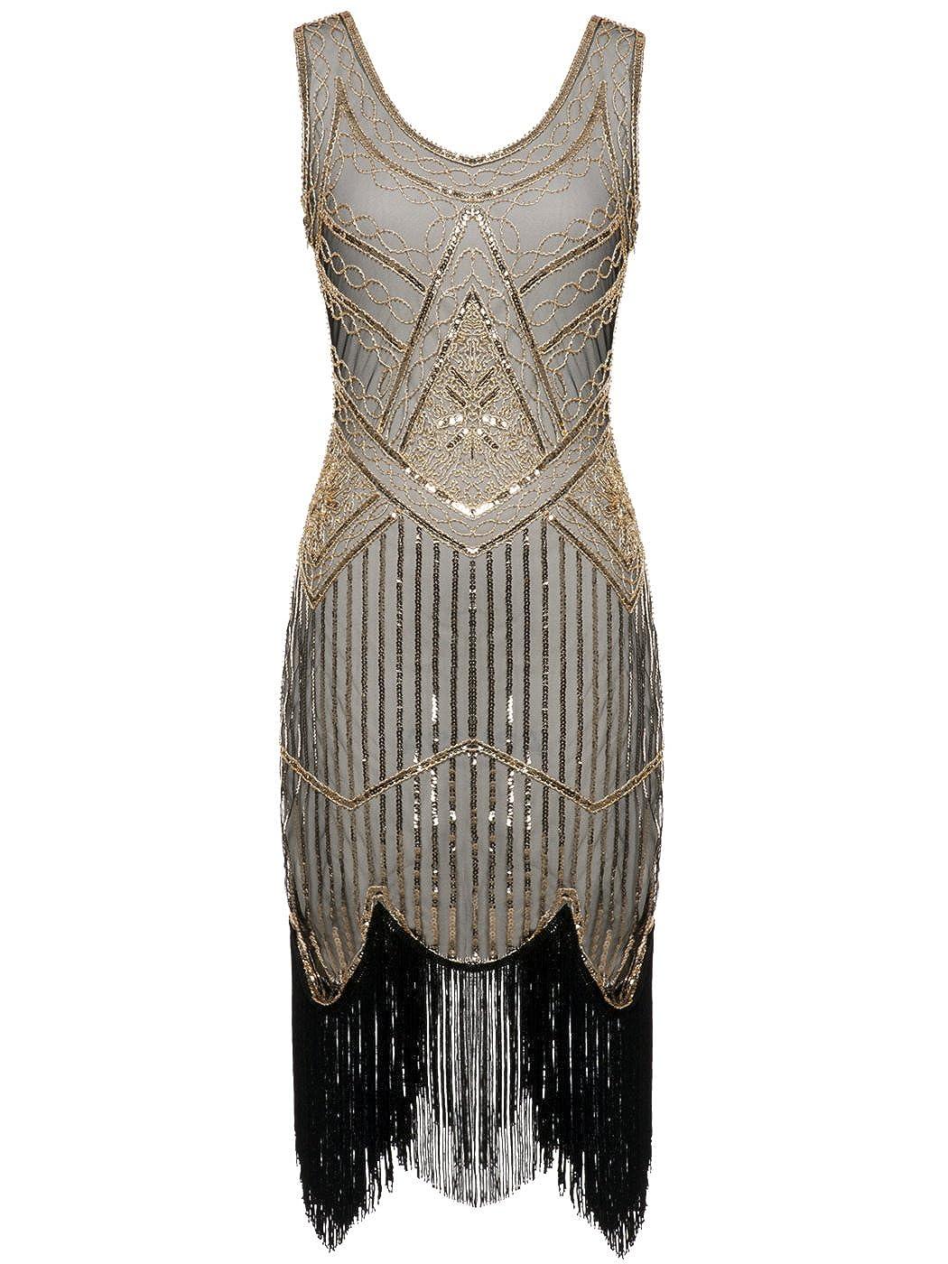 FAIRY COUPLE 1920S Sequined Beaded Tassels Hem Gatsby Flapper Dress D20S001