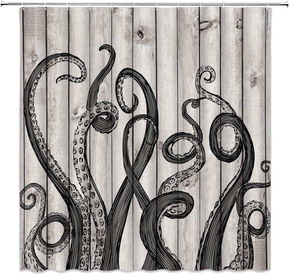 Octopus Tentacles Shower Curtain Nautical Sea Ocean Kraken Tentacle Rustic Vintage Wooden Board Underwater Marine Life Animal Abstract Creative Fabric Bathroom Decor with Hooks,Black Gray