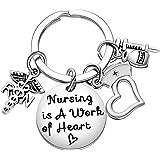 Nurse Keychain RN Nursing is A Work of Heart Nurses Appreciation Thank You Best Friend Gift (RN)