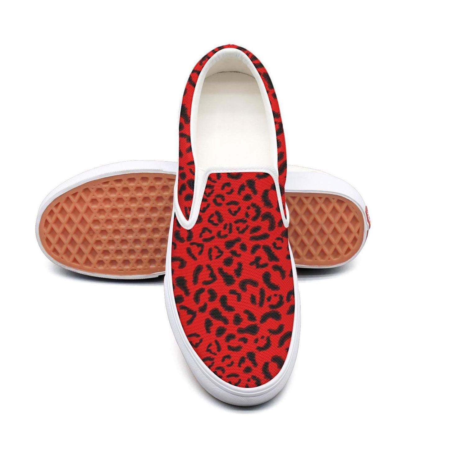 VXCVF Christmas Cat Leopard Red Womens Canvas Sneakers Awesome shoefor Womens