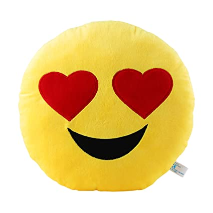 Heart Eyes Emoji Pillow 12 5 Inch Large Yellow Smiley Emoticon