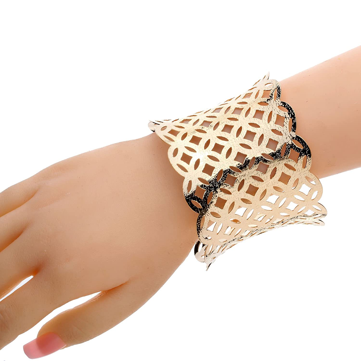 YAZILIND Gold Plated Special Hollow Cuff Bangle Bracelet Wide 1.2in Punk Style XGTW6N