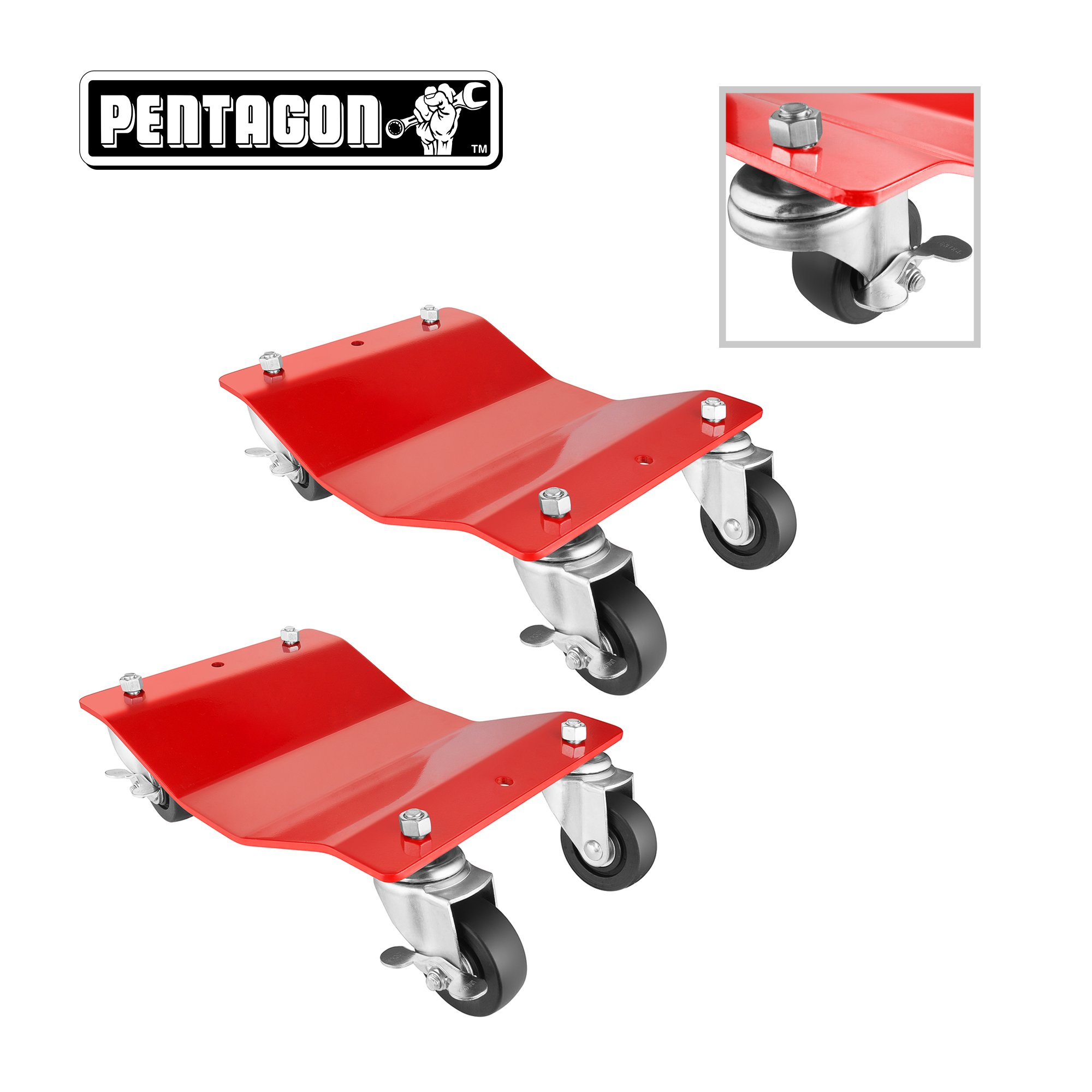 Pentagon Tool | Commercial Grade 2-Pack | Tire Dolly - Tire Skates | 1,500 lbs Rating | Red