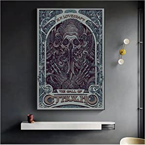 IUYBHRYI H. P. Lovecraft Cthulhu Canvas Painting Wall Art Poster Abstract Picture for Living Room Home Decor-50x70cm No Frame