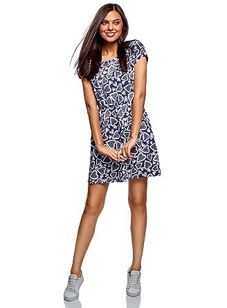 b77d02f10e3855 oodji Ultra Damen Baumwoll-Kleid mit Gummizug an der Taille, Blau, DE 32