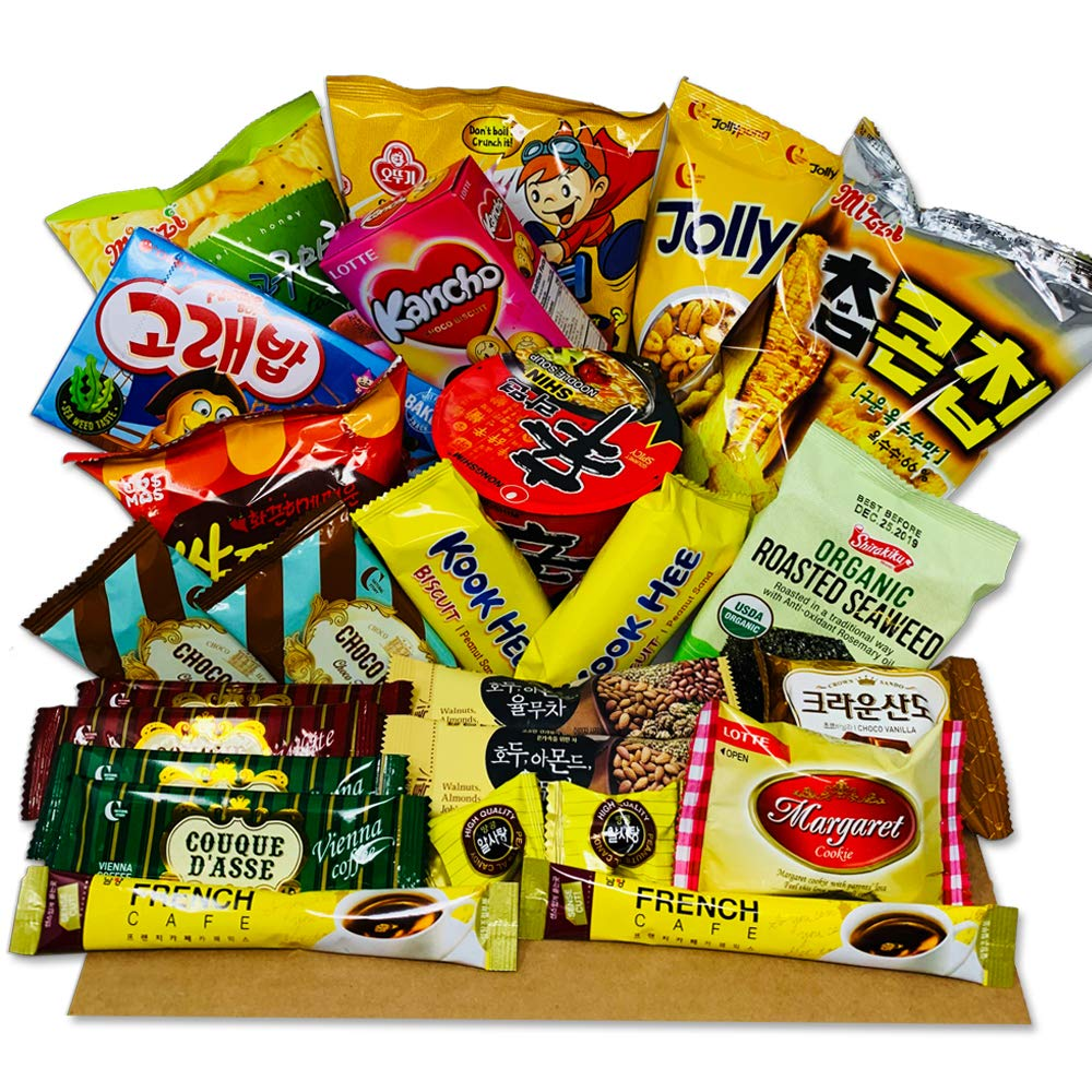 DANKONG Korean Snack Box - 25 Count of Variety Assorted Individual Wrapped Essentials Sample Packs of Candy, Snacks, Chips, Ramen, Cookies, Treats for Men, Women, Kids, Children, College Students by DANKONG (Image #1)