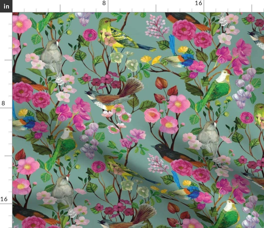 Spoonflower Fabric - Birds, Blooms, Chinoiserie, Duck Egg, Bird, Floral, Pink, Turquoise, Printed on Upholstery Velvet Fabric by The Yard - Upholstery Home Decor Bottomweight Apparel