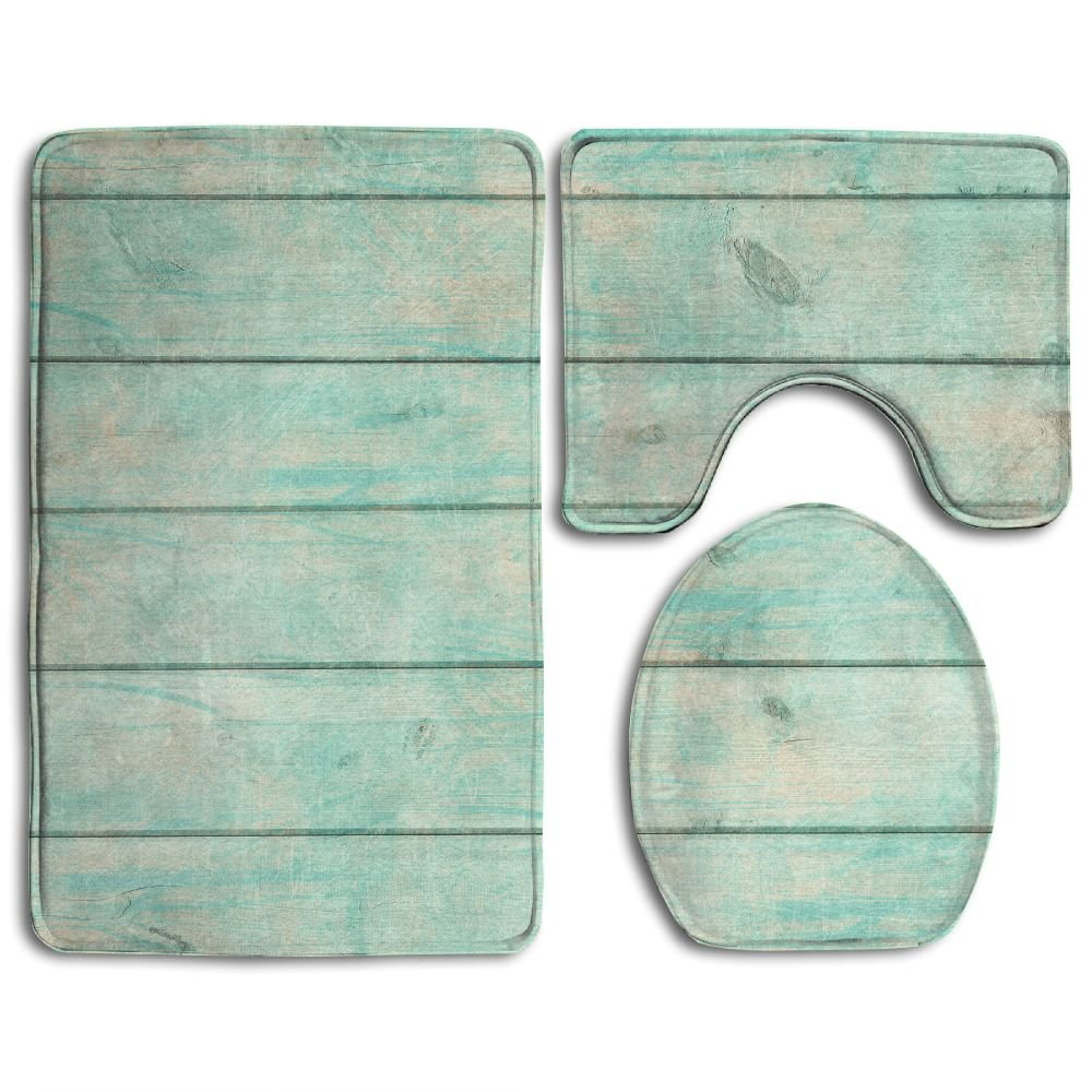 Hexu Shabby Chic Wood Rustic Old Plank Background In Turquoise Mint And Beige Colors With Textured Bathroom Rug 3 Piece Bath Mat Set Contour Rug And Lid Cover