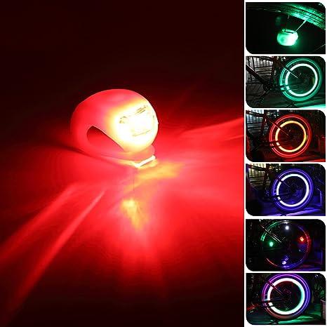 Escursioni set di 2 Luci LED con custodia in silicone Grenhaven Jogging Bike light bicicletta Campeggio colore: ROSSO//BIANCO per passeggini Bici Faretto con durata e luce lampeggiante Bambini