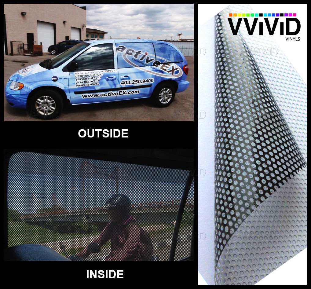 VViViD One Way Perforated Window Vinyl Privacy Wrap Film Roll Decal Sheet DIY Easy to Use Air-Release Adhesive (25ft x 54 Inch)