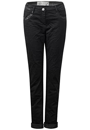Cecil New York Damen Jeans Hose Gabardine Stretch schwarz W
