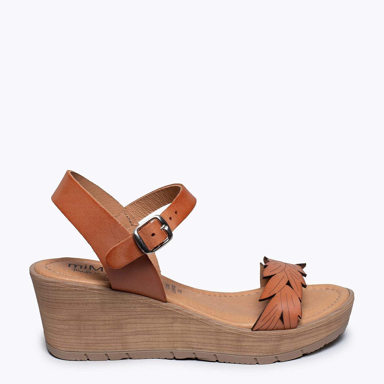 Zapatos miMaO. Zapatos Piel Mujer Hechos EN ESPAÑA. Cuñas Tira de Hoja. Sandalias Plataforma. Zapato Cómodo Mujer con Plantilla Ultra Confort Gel Marrón