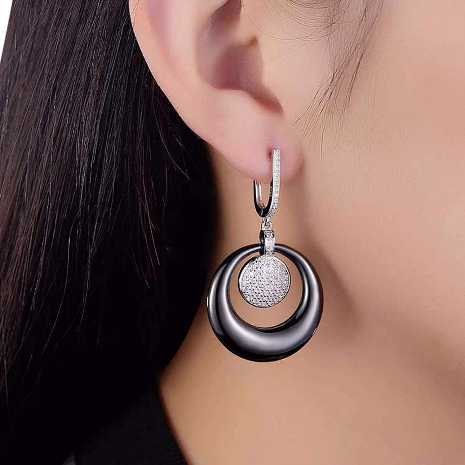Silver Earrings By CS-DB Vintage Black Round Double Ceramic Micro-Inserted Zircon Earrings For Womens