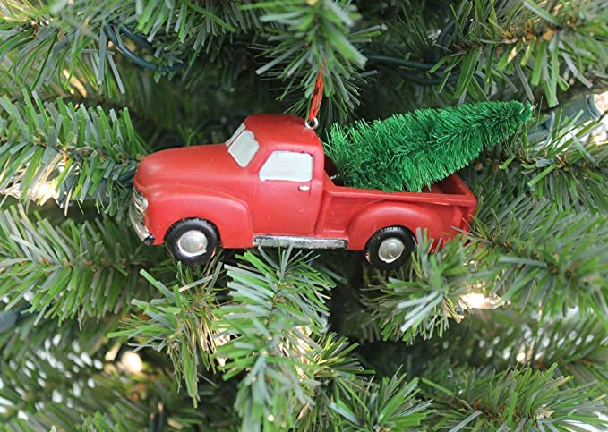 Christmas Ornaments Red Pick-Up Trucks Carrying Trees w Hanging Loops 4 Ct//Pk