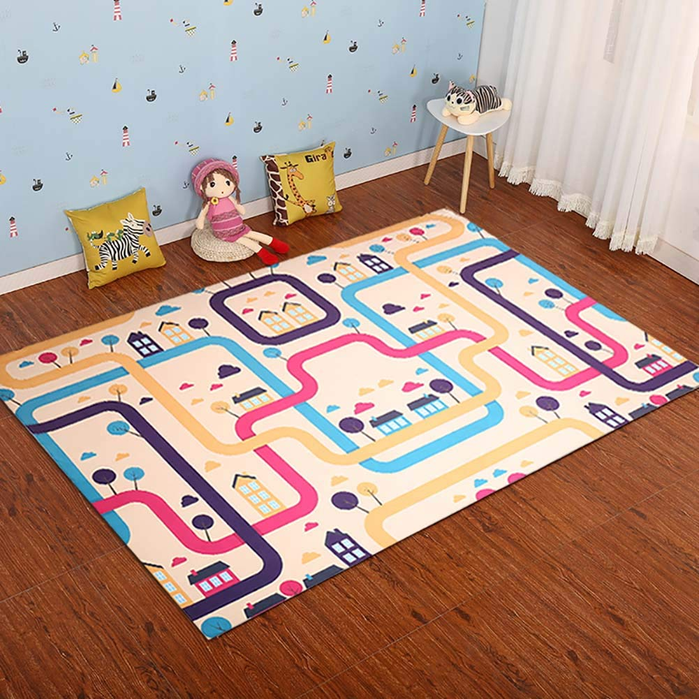 カーペット_子供のフロアゲームパッド、無毒ノンスリップコットン早期教育赤ちゃんは、カーペットの子供の部屋をクロール 少年少女ルームグレーブルー|ライトピンク4サイズ 160*230CM powder B07K16NPPV