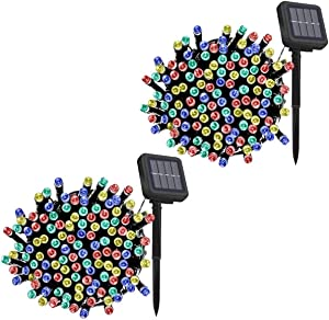 2 Pack Fairy Solar String Light Multi-Color Dimmable, 40ft/12.2m 120LED 8 Modes Solar Powered Starry Lighting Waterproof Christmas String Lights for Patio Garden Yard Wedding Dancing Party Decoration