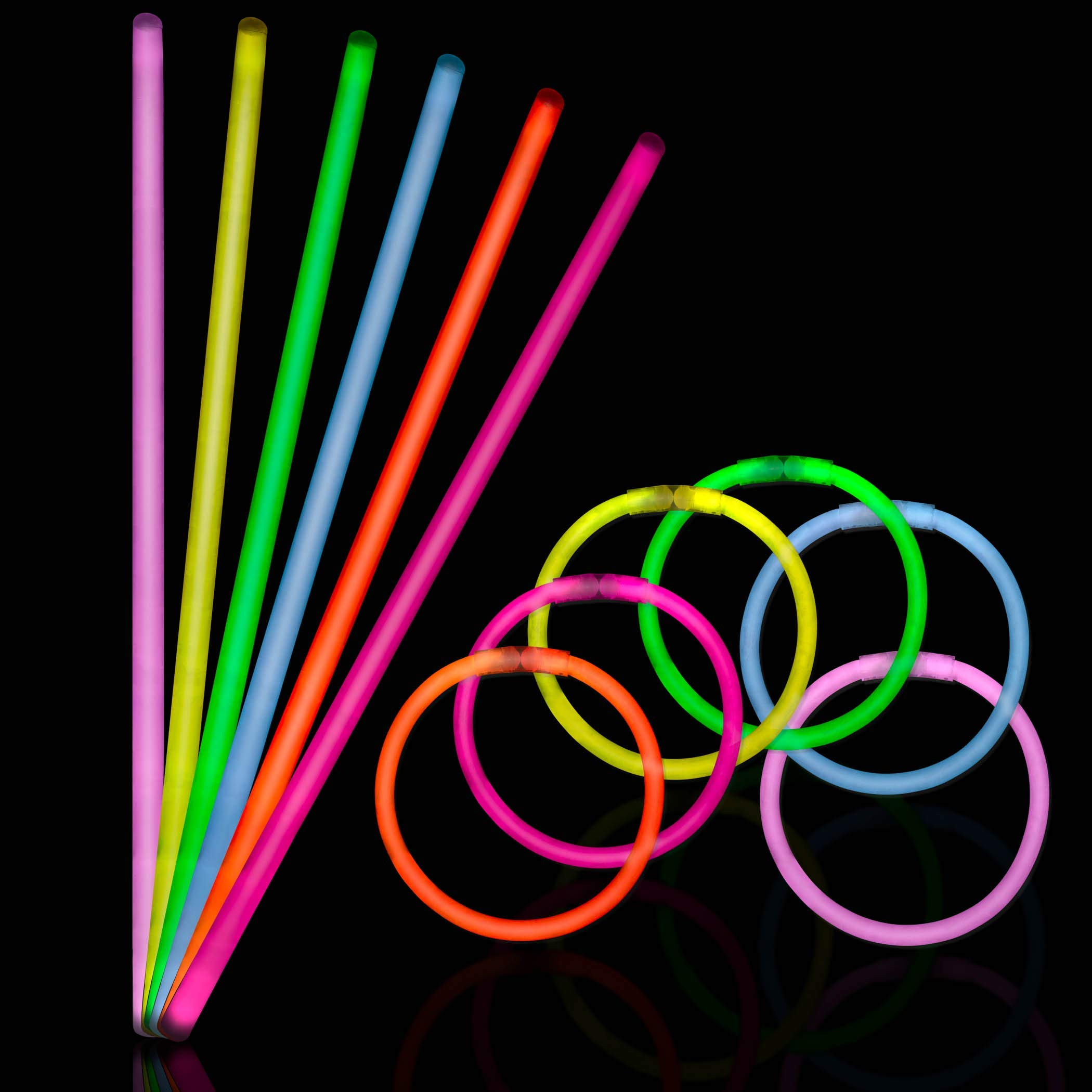150 Ultra Bright Glow Sticks - Total 300 Pcs - 8'' Necklaces And Bracelets Glow Stick With Connectors - Bulk Party Pack Ultra Bright Glowsticks - 10 Hour Duration - Mixed Colors In 3 Tubes by Glowing U.S. inc (Image #2)