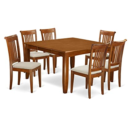 Excellent East West Furniture Pfpo7 Sbr C 7 Pc Dining Set Square Dining Table With Leaf And 6 Dining Chairs Gmtry Best Dining Table And Chair Ideas Images Gmtryco