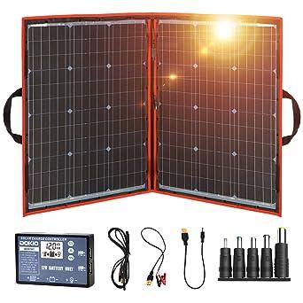 DOKIO Panel Solar Plegable 100w monocristalino para cargar 12v Batería, PORTáTIL, impermeable,ideal embarcaciones, camping, caravanas