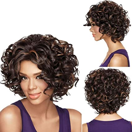 lzndeal Pelucas cortas rizadas afro Kinky rizadas para mujer negra resistente al calor peluca sintética completa