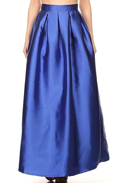 022219b88f MissyMissy Womens Stretch Long Skirts Casual High Waist Solid Dress 5603  (Medium, Royal Blue