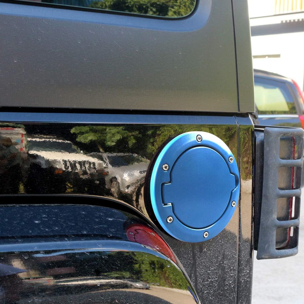 DDUOO Jeep Gas Cap Cover White JK Fuel Door Gas Cover for Jeep Wrangler JK 2-Door 4-Door Sahara Rubicon 2007-2017