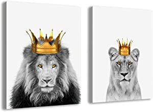 Lion and Lioness Wall Art Picture Black and White Animal Canvas Poster Minimalist Painting Bedroom Decor-50x70cmx2 pcs no frame