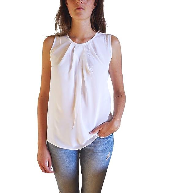 Posh Gear Mujer Blusa de Seda Gileseta, Blanco, XS