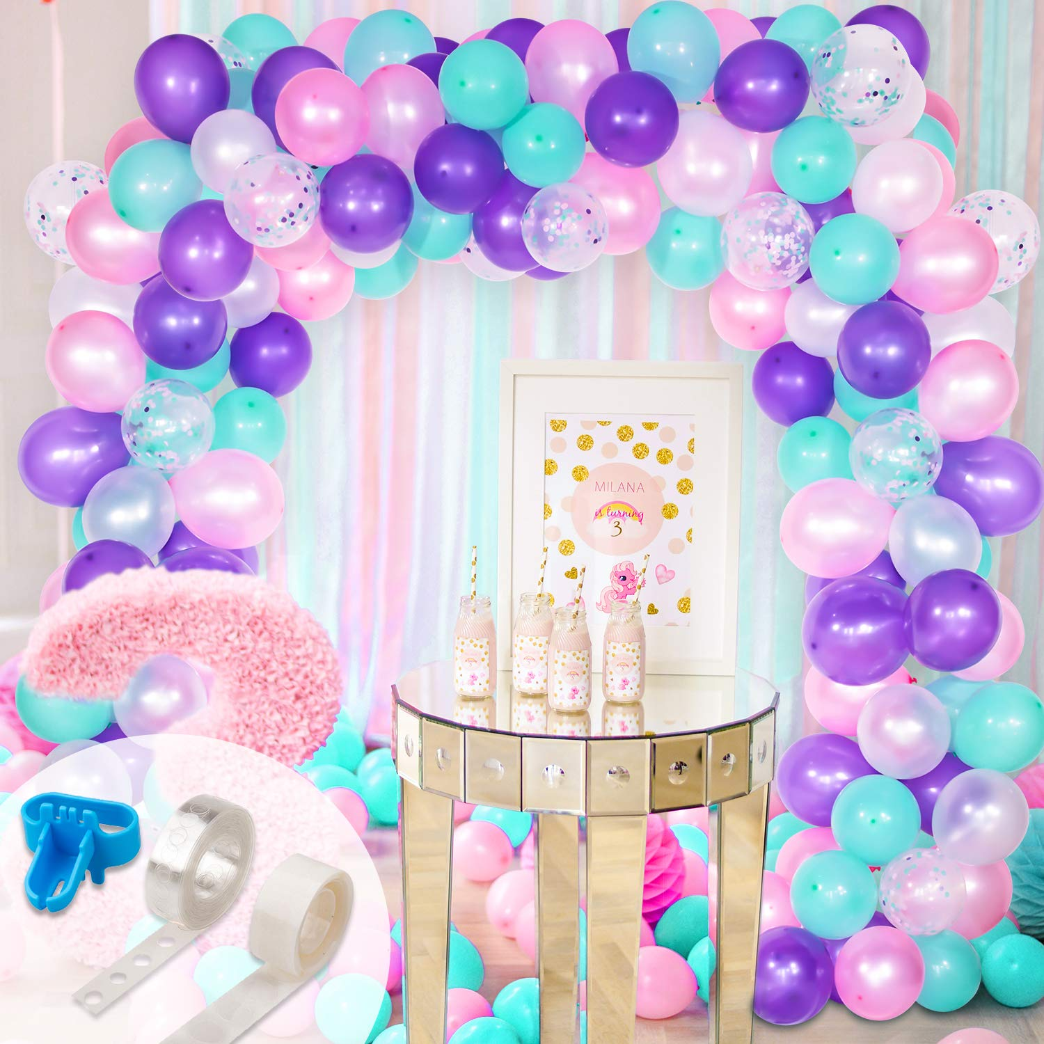 Whaline Mermaid Balloon Arch & Garland Kit, Purple, Pink, Aqua, White and Mermaid Confetti Balloons with 16ft Balloon Strip Tape, 1 Tying Tool and 100 Dot Glue for Wedding Birthday Party D¨¦cor