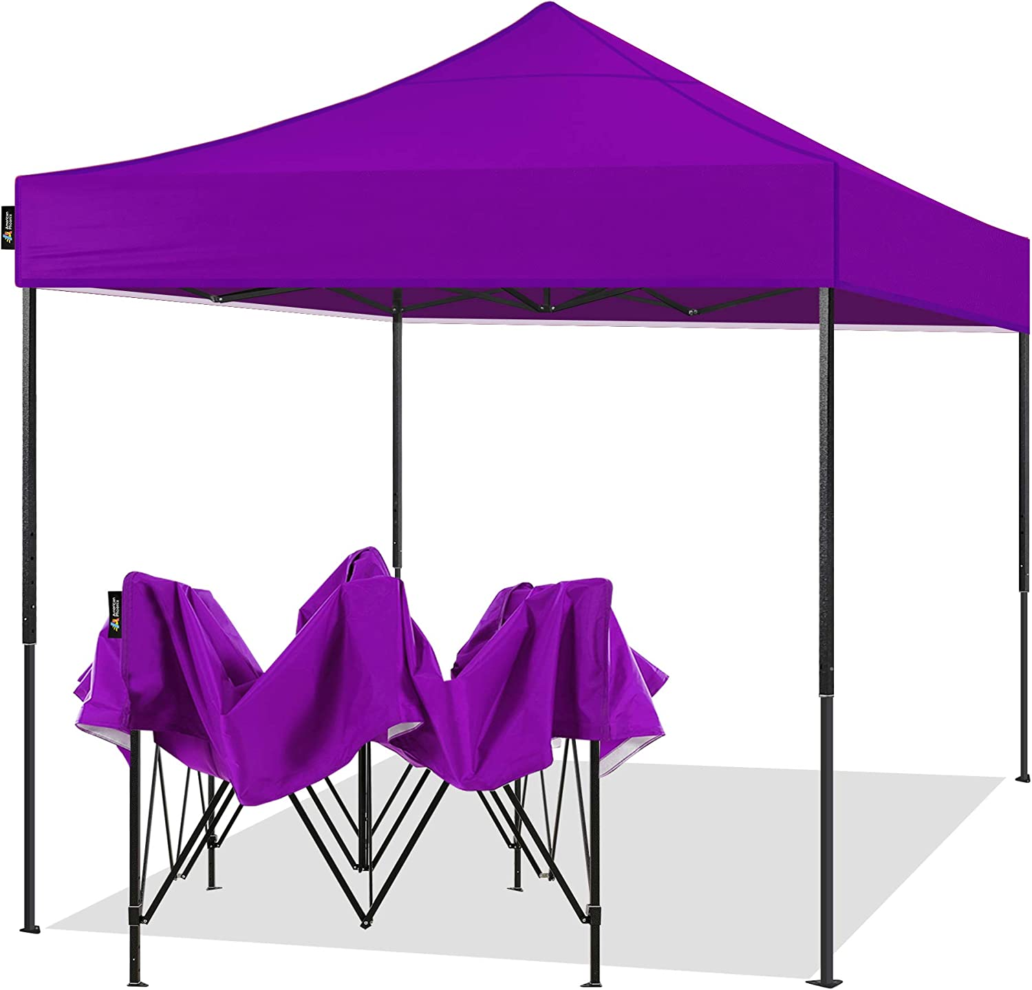 AMERICAN PHOENIX 10x10 Pop Up Canopy Tent Portable Instant Adjustable Easy Up Tent Outdoor Market Canopy Shelter (10'x10' Black Frame, Purple)