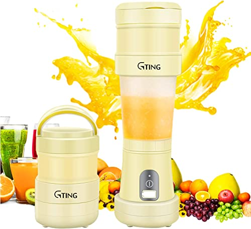 Portable Blender, G-TING Collapsible Personal Smoothies Blender Cordless, Single Serve Mini Blender 500ml USB Rechargeable Small Juice Mixer Portable Juicer Shakes, Smoothies, Home, Travel Gym