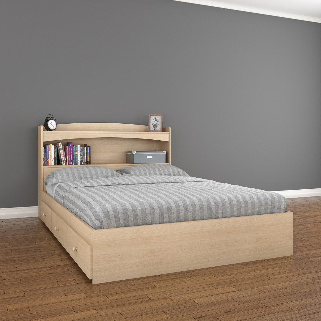 Full size bed with storage - Amazon Com Alegria 5654 Full Size Storage Bed From Nexera Natural Maple Kitchen Dining