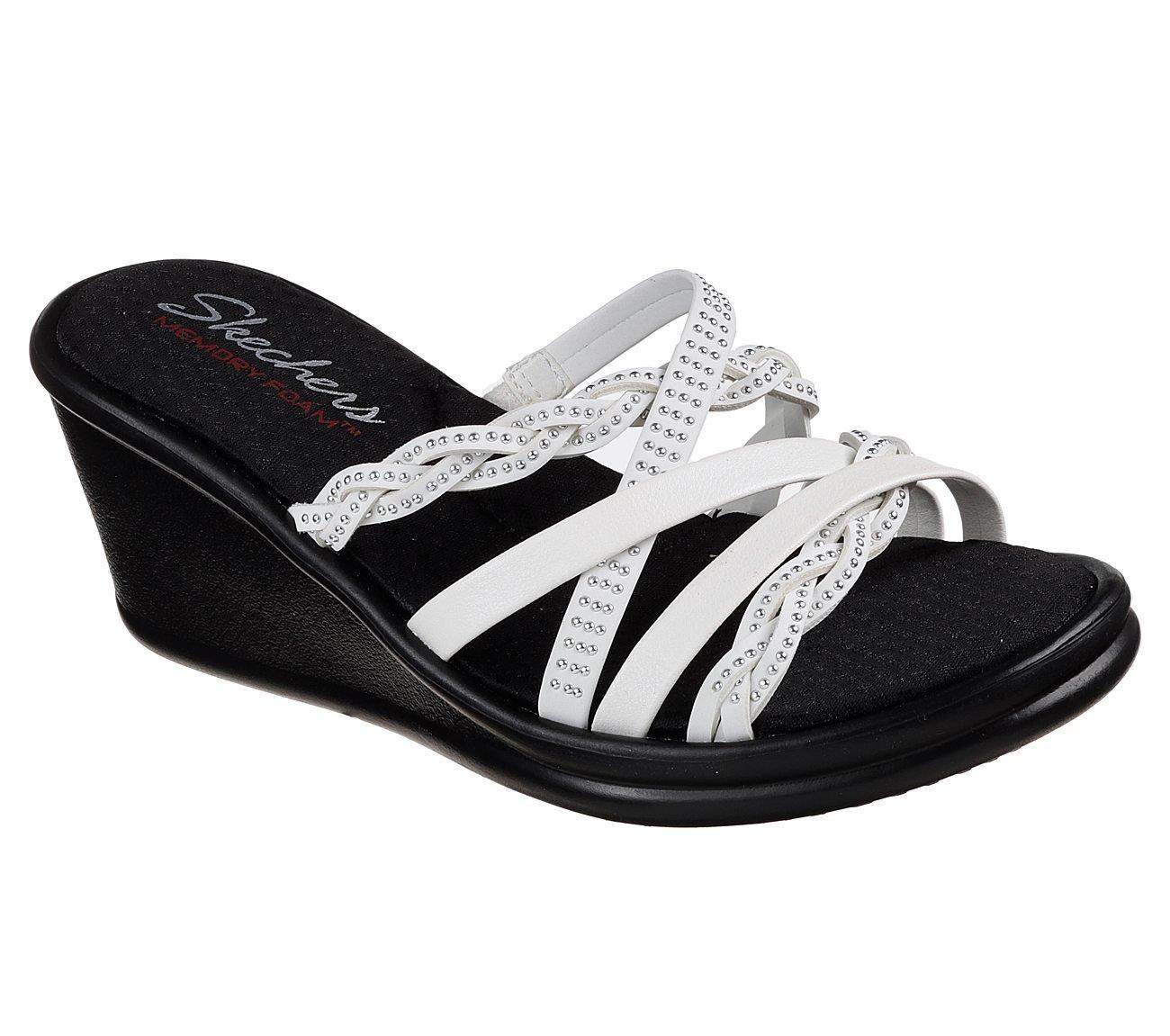 Skechers Women's Rumblers Baubles-Beaded Multi-Strap Slide Wedge Sandal B07BHK6QW4 8 B(M) US|White