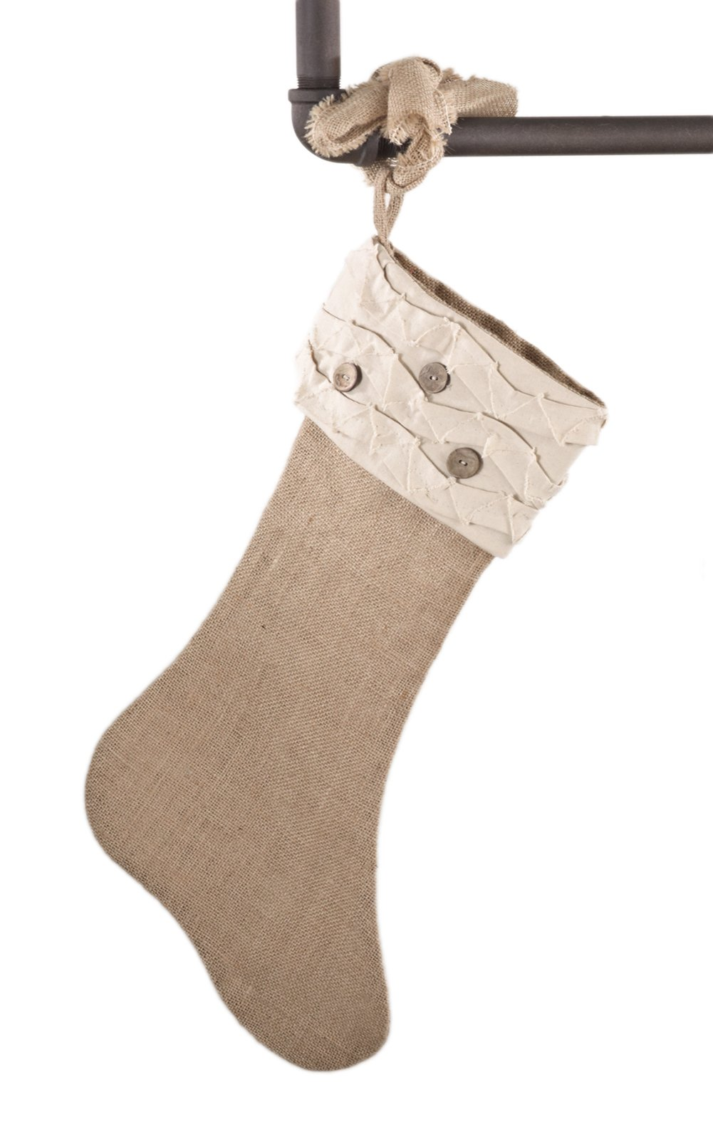 fenncostyles.com Holiday Décor Jute Design Natural Christmas Stocking, One Piece (Ruffles and Wood Buttons)