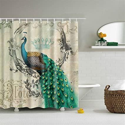 Etonnant Qiancheng Peacock Printing Shower Curtain, Extra Long Bath Decorations  Bathroom Decor Sets With Hooks