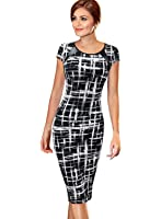 VfEmage Women's Printed Patterned Casual Slimming Fitted Stretch Bodycon Dress