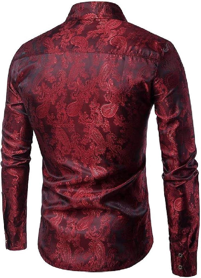 Etecredpow Men Curved Hem Jacquard Lapel Neck Fashion Embroidery Button Down Shirts