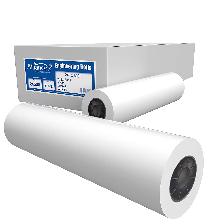 "Alliance Paper Rolls, Bond Engineering, 24"" x 500', 92 Bright, 20lb - 2 Rolls Per Carton with 3"" Core"