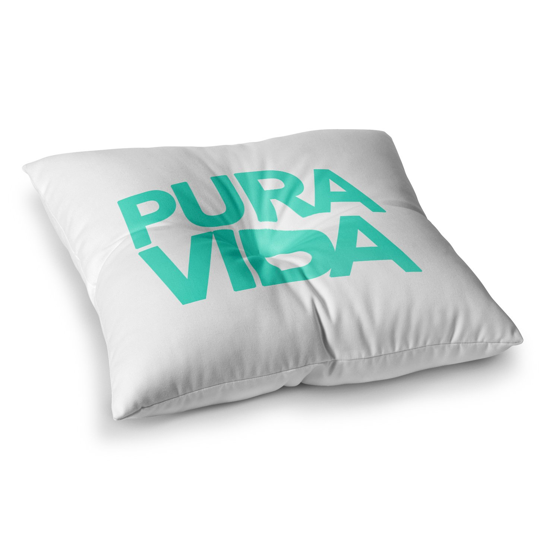 Kess InHouse Geordanna Cordero-Fields Turquoise Pura Vida Blue White 26 x 26 Square Floor Pillow