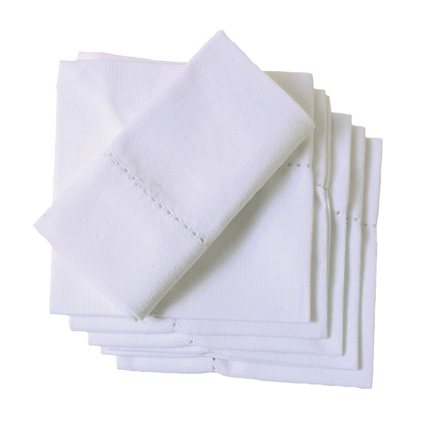 Organic Cotton Napkins, 20 x 20 inch Set of 6 White Napkins, Dinner Cloth Napkins for Dinner, Events, Weddings, Tailored with Hemstitched Mitered Corners and a Generous Hem