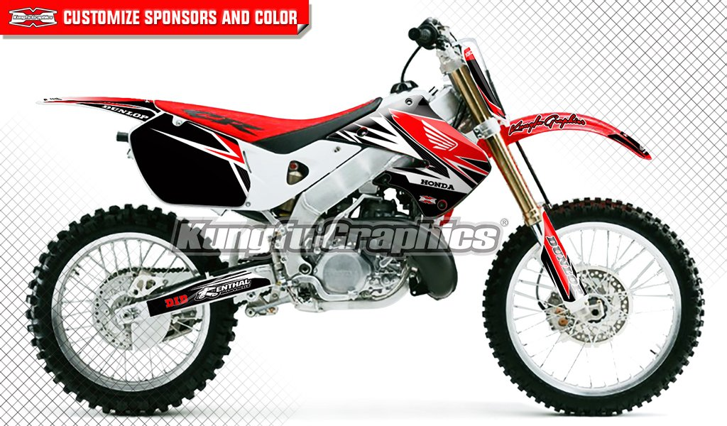 Style 010 Kungfu Graphics Custom Decal Kit for Honda CR125 CR250 1997 1998 1999 Red Blue