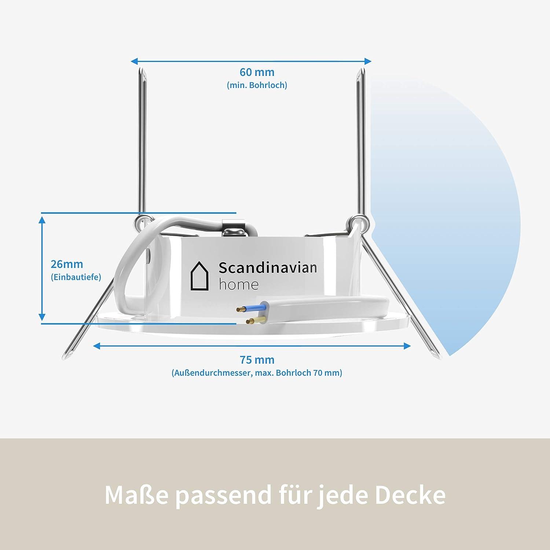 luz blanca c/álida Scandinavian Home con vidrio opalino 220//230 V para cuarto de ba/ño Juego de 3 focos LED empotrables ultraplanos 5 W 3000 K redondos A++ 60-68 mm 500 lm