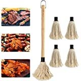 AUSHEN 18 Inch BBQ Grill Basting Mops Brush for Grilling and Roasting,Wooden Long Handle and Cotton Fiber Head with 4 Extra Replacement Heads for BBQ Grilling Smoking Steak