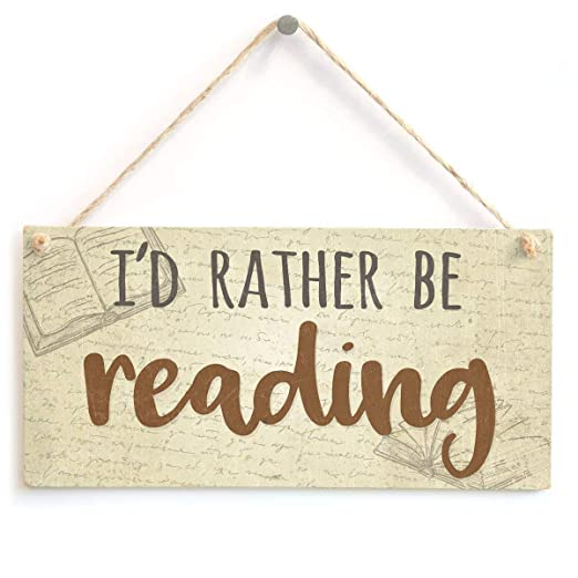 Mr.sign ID Rather Be Reading Cartel de Pared Madera Placa ...