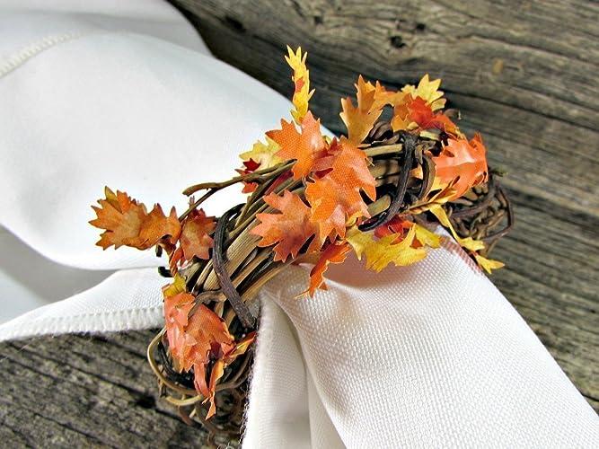 amazon com oak leaf and grapevine twig napkin rings for fall