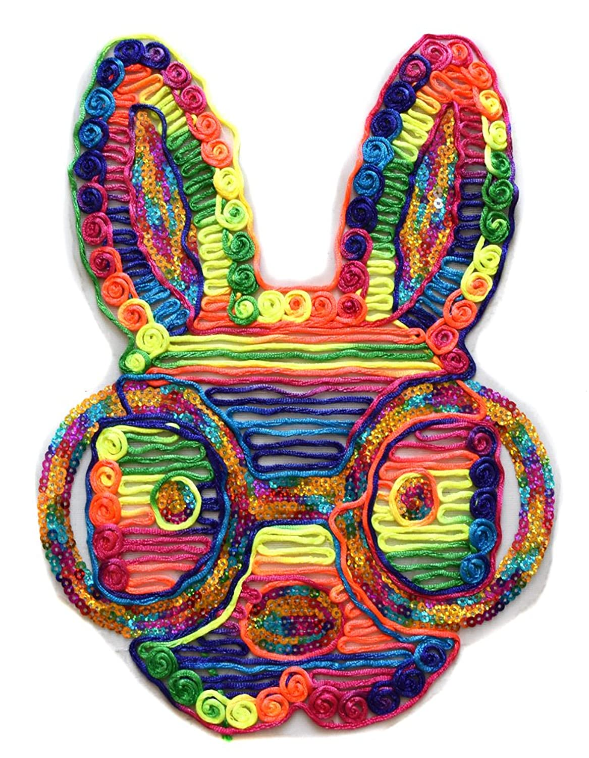 ecusson lapin bunny paillettes fluo usa 33x23cm patche badge paillete sur toile tulle
