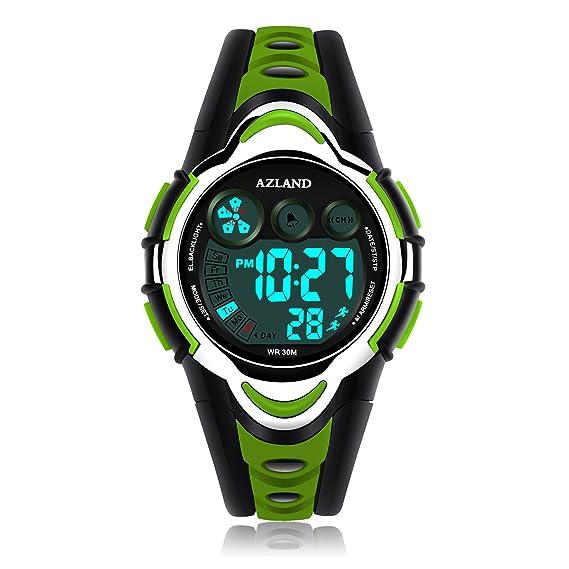 Azland impermeable Natación reloj deportivo niños niñas LED Digital relojes para niños, correa de goma: Amazon.es: Relojes