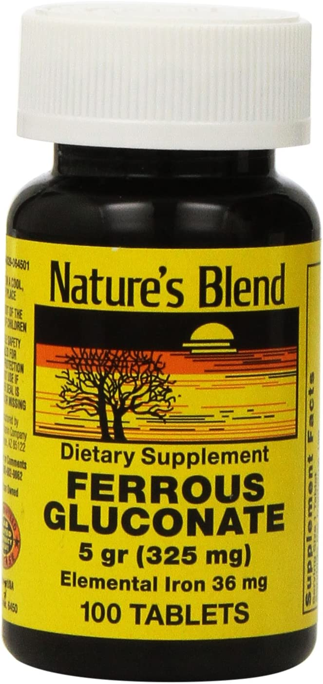 Nature's Blend Ferrous Gluconate Tablets, 100 Count