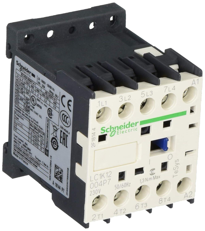 Schneider Electric LC1K12004P7 Contactor 230V 50/60Hz, Contactor-4No 20A Ac1 Poles
